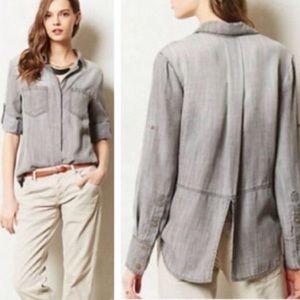 Anthro Cloth & Stone Chambray Split Tail Shirt